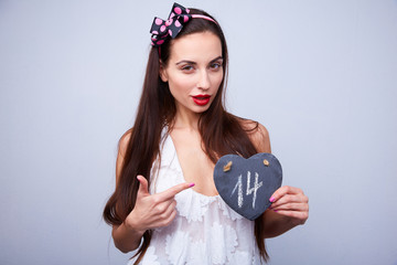 girl with heart in Valentine's Day