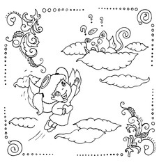 the little angels are decorated with framed outline for coloring isolated on the white background