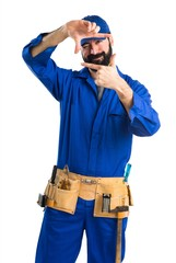 Plumber focusing with his fingers