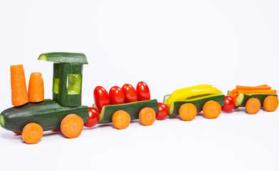 Cucumber train - From cucumbers and other vegetables carved train