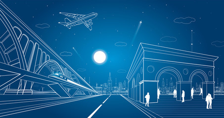 Transport and infrastructure illustration, train rides on the bridge, night city, people walk on the square, auto road and airplane fly