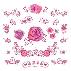 The set of hand drawn elements for your design on the pink watercolor background. Elements for Valentine's Day, mother's day, birthday, wedding, easter.
