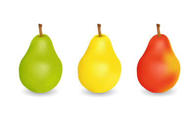Three delicious juicy pears - green, yellow and red