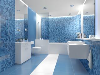 Badezimmer mit frischer blauer und weißer Farbkomination