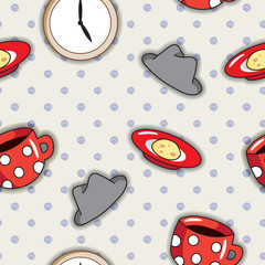 Seamless pattern with red cups.