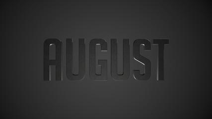 August metallic text for calendar background