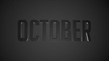 October metallic text for calendar background