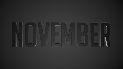 November metallic text for calendar background