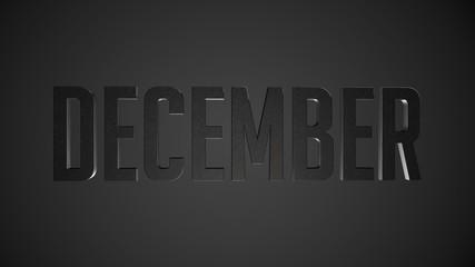 December metallic text for calendar background