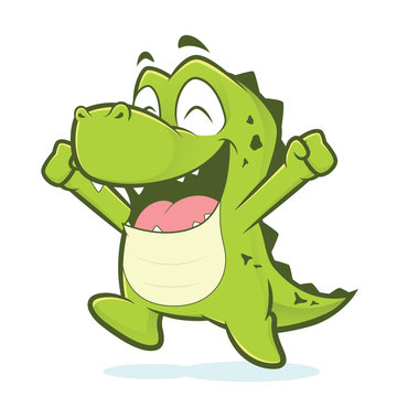 Happy crocodile or alligator jumping