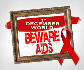 1st december world BEWARE AIDS, World Aids Day concept with red ribbon
