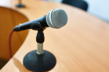 microphone against the background of convention center