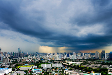 Bangkok view on cloudy and rainy days.