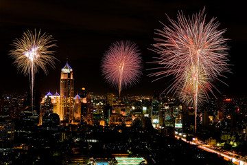 Firework in central of bangkok city, Thailand