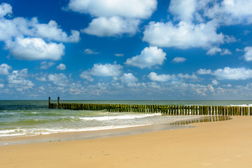 Canvas Print - Breakwaters on the beach in Domburg