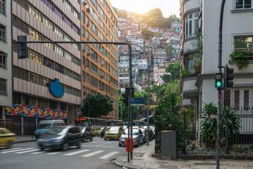 Street in Copacabana and favela Cantagalo in Rio de Janeiro. Brazil