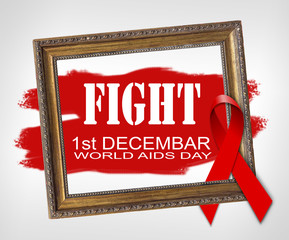 FIGHT, World Aids Day concept with red ribbon and aids awareness