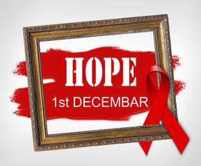 HOPE, World Aids Day concept with red ribbon and aids awareness