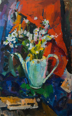 Beautiful Original Oil Painting with still life with  chamomile flowers in a pot on a colored background On Canvas in the style of Impressionism