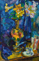 Beautiful Original Oil Painting with still life with  flowers in a vase on a background of blue shades On Canvas in the style of Impressionism