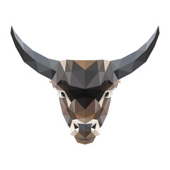 Low poly vector illustration of a bull