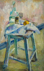 Beautiful Original Oil Painting with still life with  the fabric on the chair a glass bottle of apple in pastel colors On Canvas in the style of Impressionism