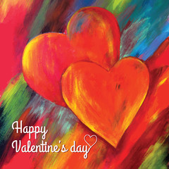 Valentine's day card. Two hearts hand painted. Vector.
