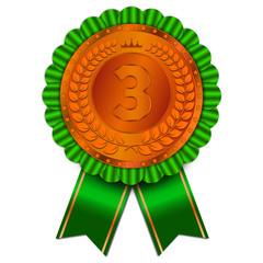 amazing bronze badge with green ribbon