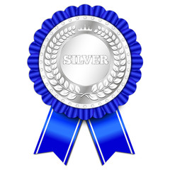 awesome silver badge with blue ribbon
