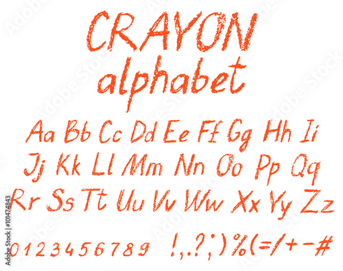 Crayon child's drawing alphabet. Pastel chalk font. ABC drawing letters. Kids drawn red characters. Vector.