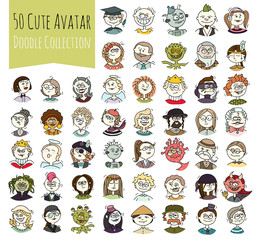 Cartoon funny user avatars in doodle style. Set of women, men character faces with different emotions, professions. Cute vector isolated on white. All people organized in groups for easy editing.