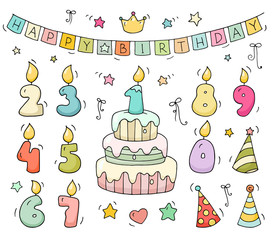 Cute colorful number shaped candles set. Cartoon birthday cake and lighting candles in the form of numbers. Doodle collection for party, kids design. All objects are grouped and isolated on white.