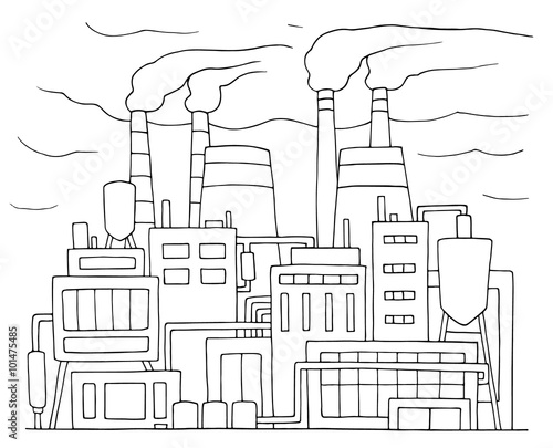 u0026quot industrial cartoon sketch of nuclear power station