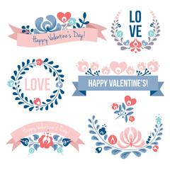 Valentine's day floral elements set, vector illustration