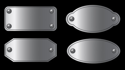 Set of metal labels of various shapes