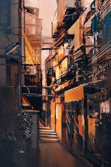 painting of narrow alleyway in old town at evening