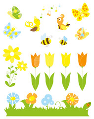 set of cute cartoon springtime nature objects : flowers, singing birds, flying, butterflies, bees / joyful collection of spring vectors for children