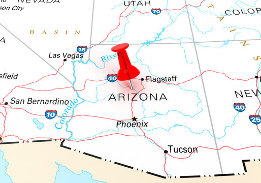 Red Thumbtack Over Arizona, Map is Copyright Free Off a Governme