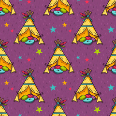 Vector seamless pattern with indian wigwam for kids room
