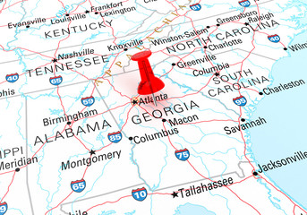 Red Thumbtack Over Georgia, Map is Copyright Free Off a Governme