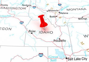 Red Thumbtack Over Idaho, Map is Copyright Free Off a Government