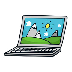 Laptop. Cute doodle sketch illustration isolated on white