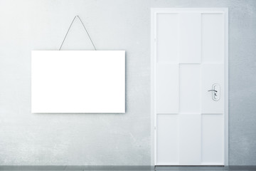 Blank white picture on concrete wall with white door in empty ro