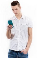 Male Teenager with mobile phone