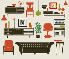 Furniture and Home Accessories - Set of design elements, including chest of drawers, stylized chairs, classic sofa, armchair, vintage chandeliers and home decoration