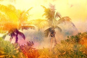 watercolor retro palms Wall mural