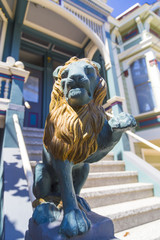 Closeup of a lion decoration on San Francisco Victorian house in Alamo district
