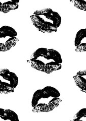 Seamless pattern with a lipstick kiss prints