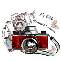 Cute hand drawn vintage camera vector illustration
