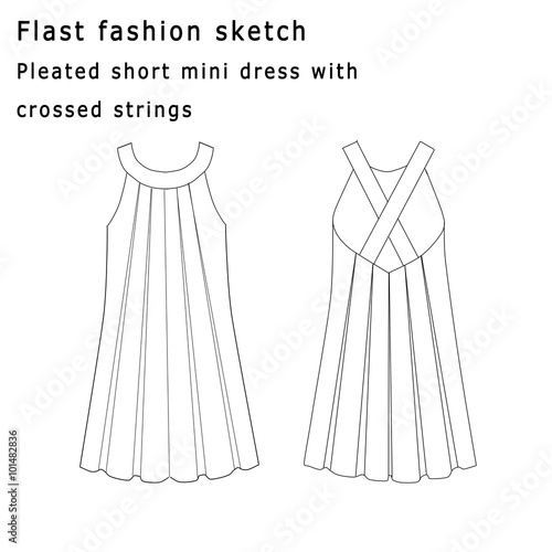 how to draw a pleated skirt
